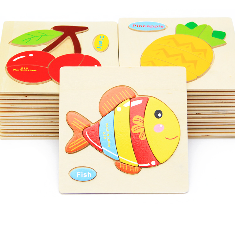 Kids 3D Puzzle Jigsaw Wooden Toys For Children Cartoon Animal Traffic Fruit Puzzles Intelligence Children Early Educational Toy