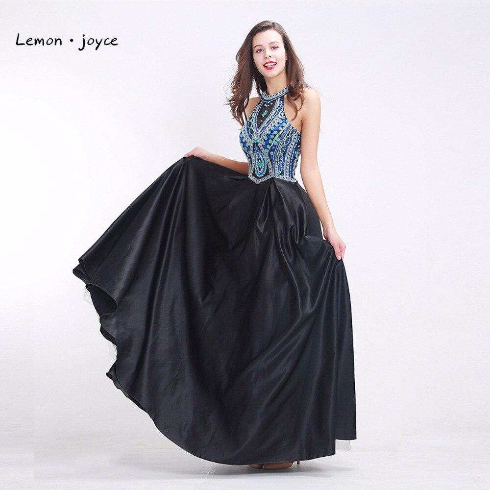 Formal Black Evening Dresses Long 2019 Halter Sleeveless Backless A-line Prom Party Gowns for  vestido de festa longo