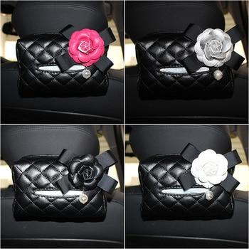 Hot Sale Pearl Camellia Flower Car Tissue Box Women Car Styling Automobile