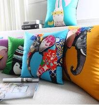 Color Paint Animal Decorative Pillow Cases