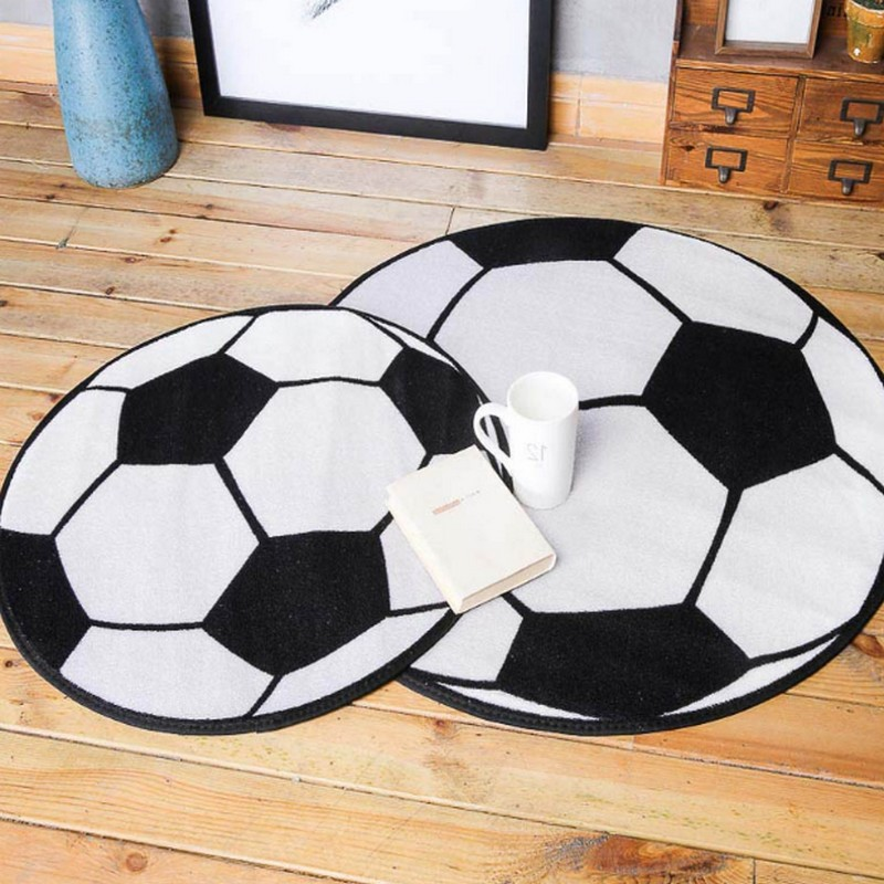 Black White Football/Basketball/Volleyball Round Carpet