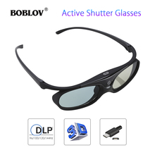 BOBLOV JX-30 3D Active Shutter Glasses DLP-Link 96Hz/144Hz USB Rechargeable Home Theater Black For BenQ Dell Acer Projector