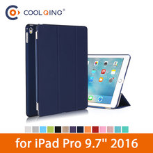 PU Tablets Case For iPad Pro 9.7 2016 Smart Tri-folded Leather Wake Sleep Protect Cover Tablet