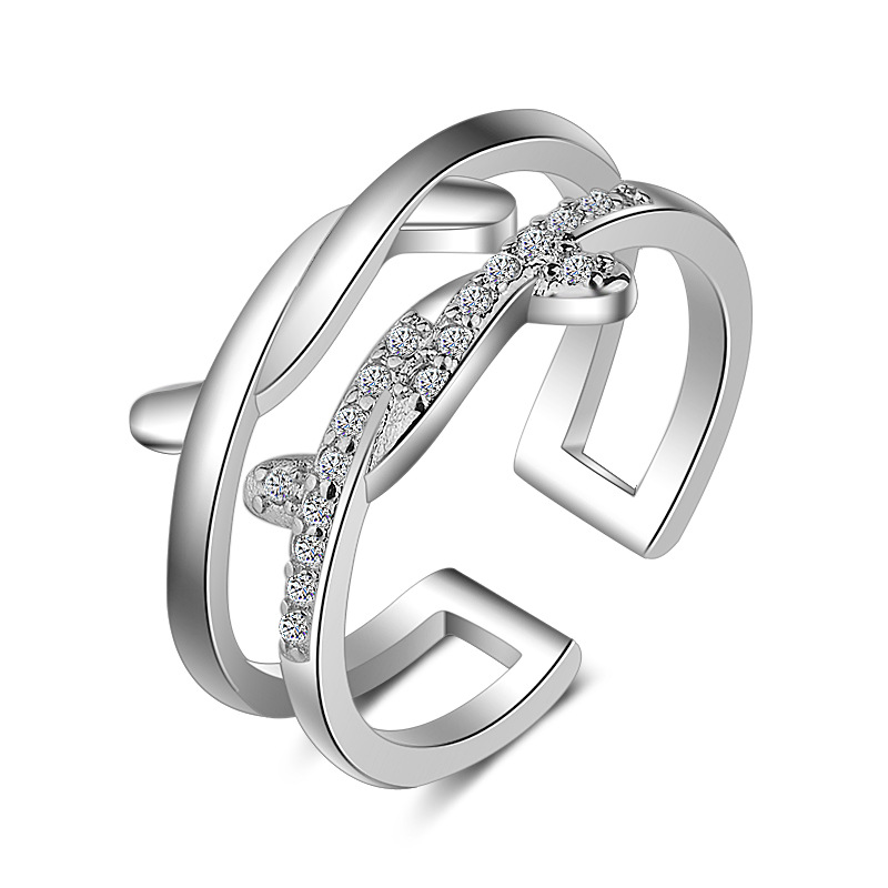 Señoras plata compromiso Gem Boda joyas de diamantes de imitación Anillo Diamonte Nuevo R25