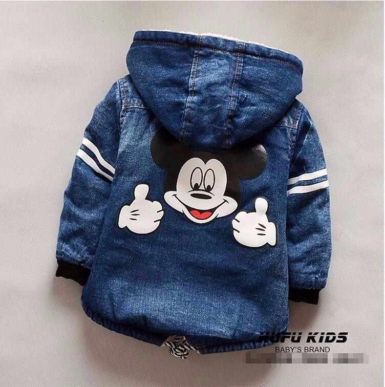 Зимнее пальто для маленьких девочек «Минни Маус» стеганая куртка с капюшоном для мальчиков джинсовая куртка (2-5T) детская плотная одежда для улицы