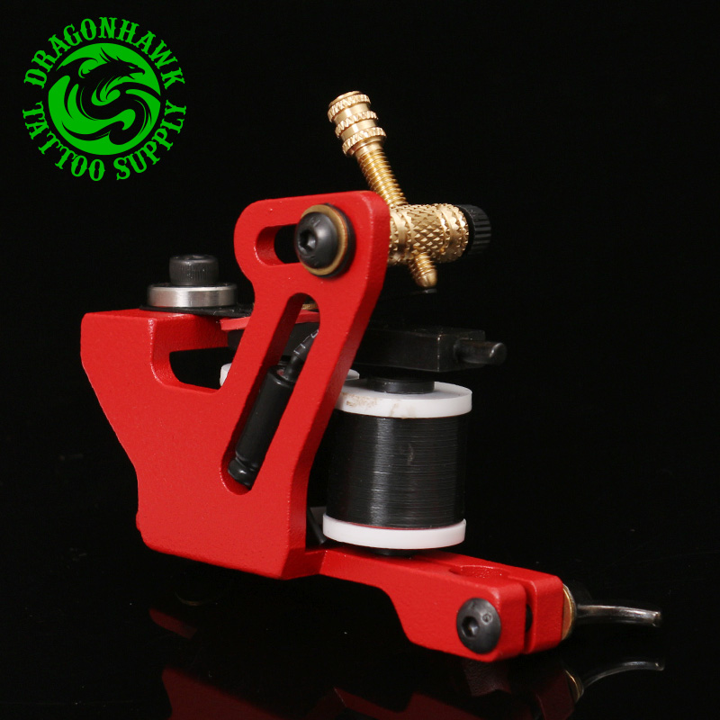 Professional Handmade Tattoo Machine  For  Liner And Shader Red Color 10 Wrap Coil Tattoo Gun Supplies Free Shipping top quality customs handmade tattoo machine kit 10 wraps coil zinc alloy machine for liner and shader free shipping tm 1114