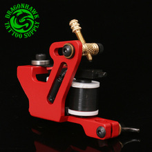 Professional Handmade Tattoo Machine  For  Liner And Shader Red Color 10 Wrap Coil Tattoo Gun Supplies Free Shipping