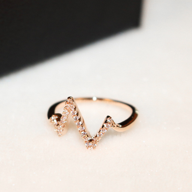 Купить женское кольцо с электрокардиограммой молнией золотистые кольца картинки