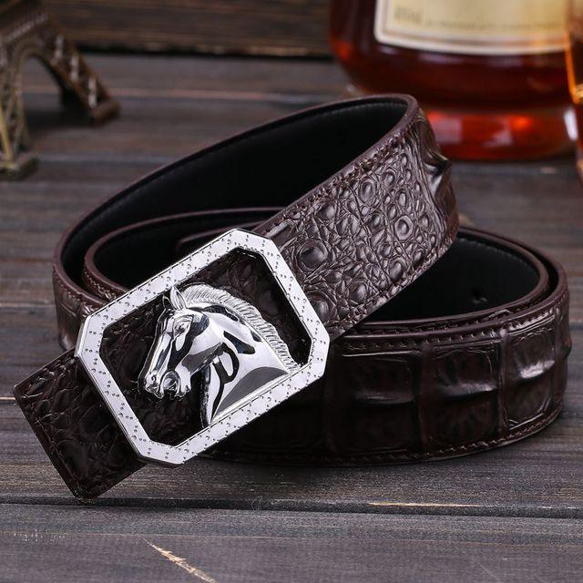 2017 a estrenar cabeza de caballo hebilla de Cocodrilo estilo faja masculina de Plata cinturón negro de alta calidad los hombres vaqueros pantalones vaqueros de la correa de la cintura 110 cm