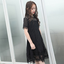 Summer New 2019 Teen Girl Short Sleeve Hollow Out Dress Round Neck Lace Stitching Dress Casual Loose Dresses Black Vestidos black casual round neck lace up side loose dress