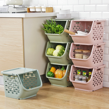1 pc Stackable Storage Basket Plastic Toy Baskets Kitchen Snacks Vegetable Bathroom Shelves