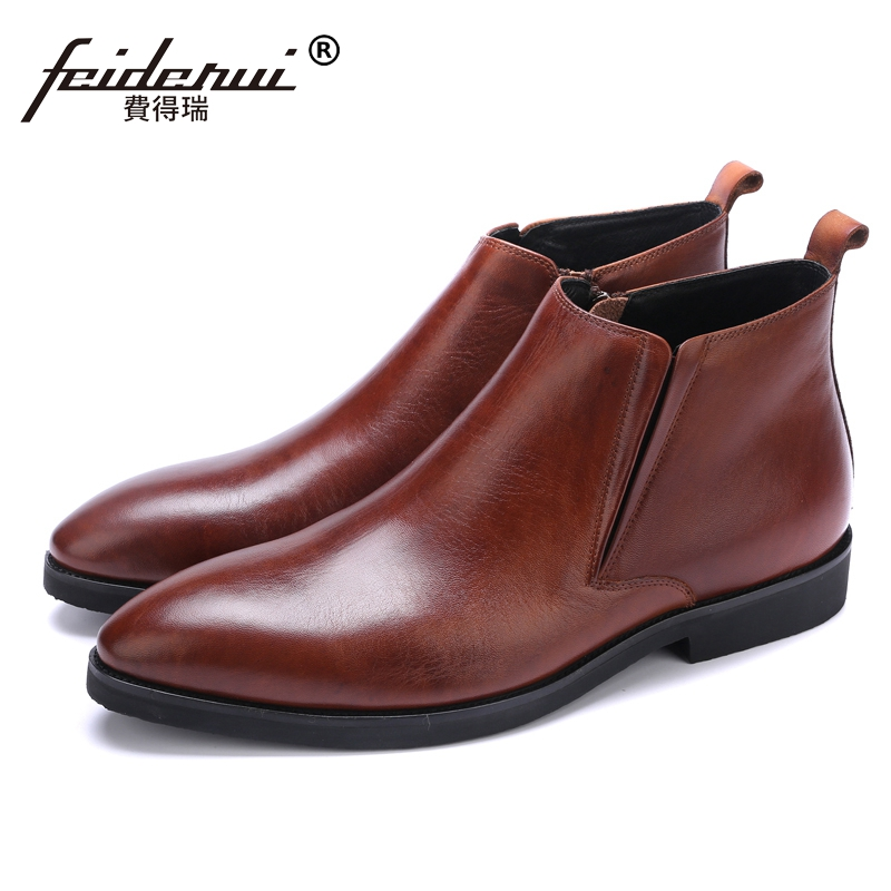 New Arrival Italian Designer Man High-Top Riding Shoes Formal Dress Genuine Leather Pointed Men's Martin Cowboy Ankle Boots JS62 2016 new spring 100% real genuine leather formal brand man italian ankle boots men s slip on cowboy rubber shoes gl282