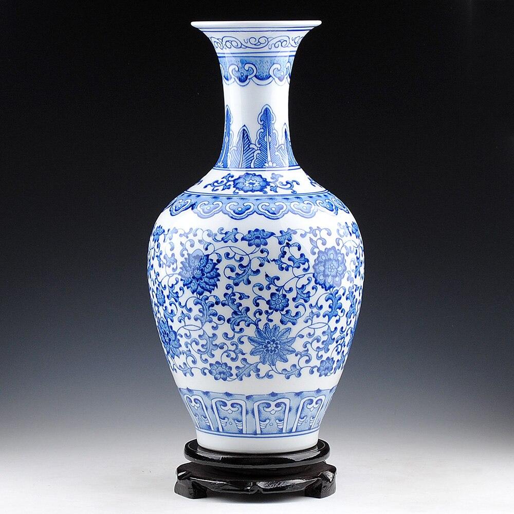ceramic underglaze blue and white porcelain vase with lotus beauty tip Home Furnishing modern fashion decoration