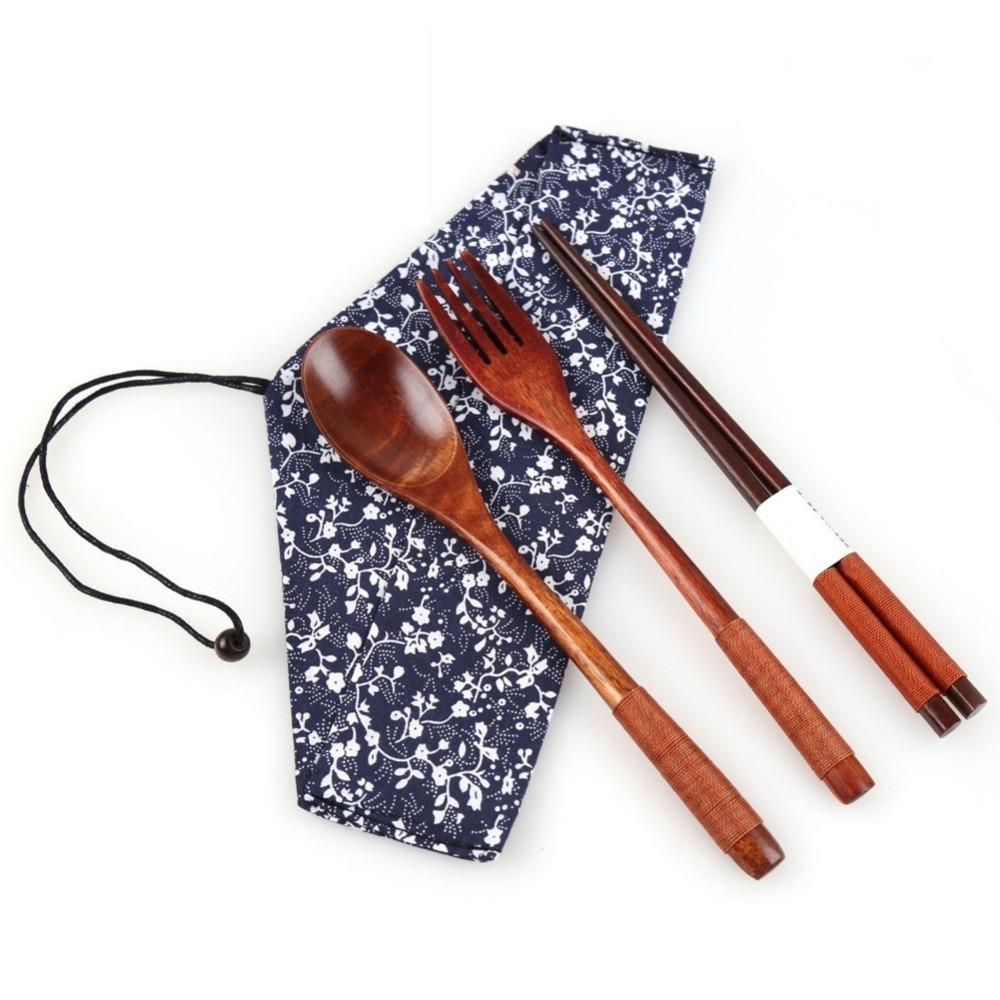 Portable Dinnerware Japanese Wooden Cutlery Set Wood Cutlery Spoon Fork Chopsticks Kit With Cloth Bag Kitchen Tableware Dinner