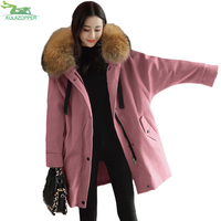 Women Fashion Corduroy Jacket Winter Fur Neck Hooded Parka Casual Loose Long Winter Outwear Female Clothing