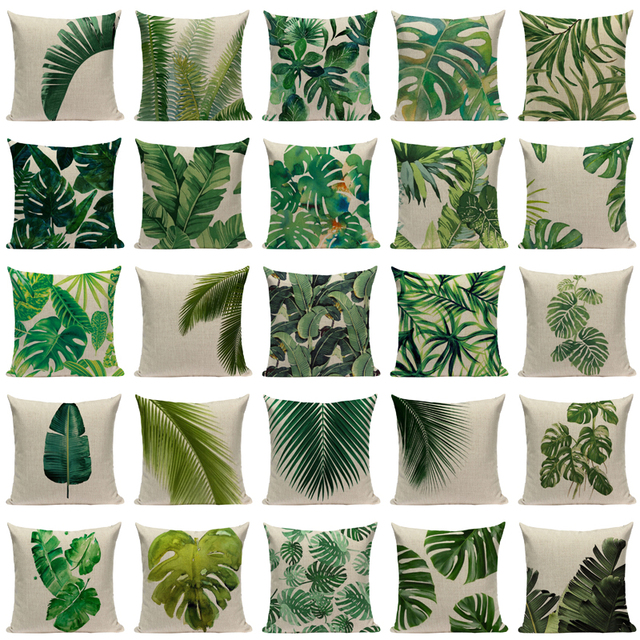 Natural Linen Cushion Cover with Tropical Print