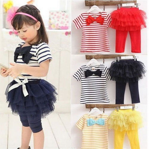 girls children korean clothing set 2015 summer new stripe sports suit for girls kids brand designer clothes sets conjunto menina