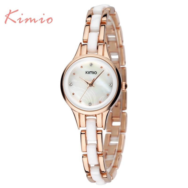 Prix pour Kimio Marque Diamant Heures horloge femelle Dames en acier plein Argent Robe Femmes fille Montres À Quartz Bracelet Montre-Bracelet avec la boîte