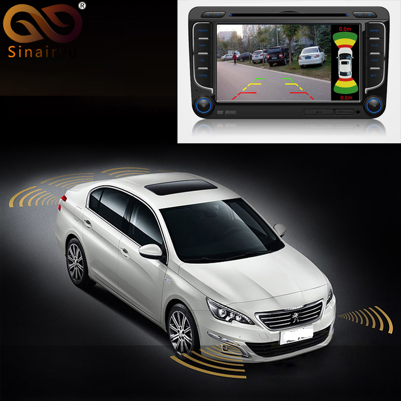 Sinairyu 2 Video Input Car Parking Sensor System, Dual Channel for Front and Rear Camera Monitor DVD Player with 8 Sensors