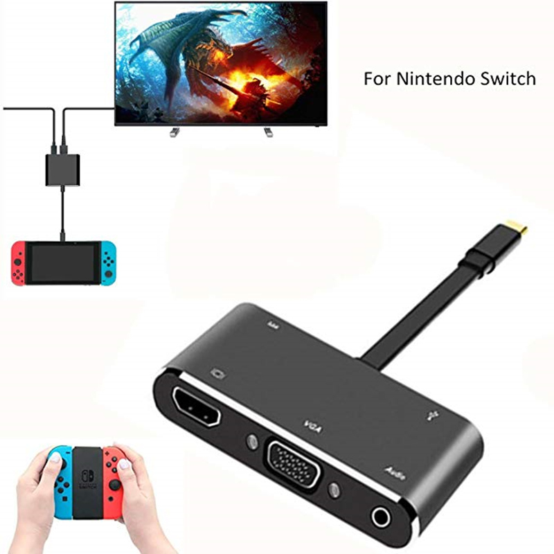 USB C to HDMI Adapter Hub for Nintendo Switch Type-C to HDMI+VGA+Audio+USB 3.0 Converter Cable for MacBook Pro/Smasung S8 Google стоимость