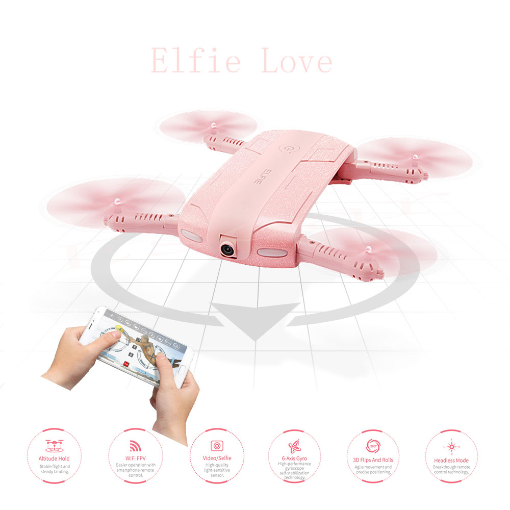 ФОТО (In stock )Original JJRC H37 ELFIE LOVE with 2MP Camera Foldable RC selfie drone Altitude Hold WiFI FPV Transmission Quadcopter