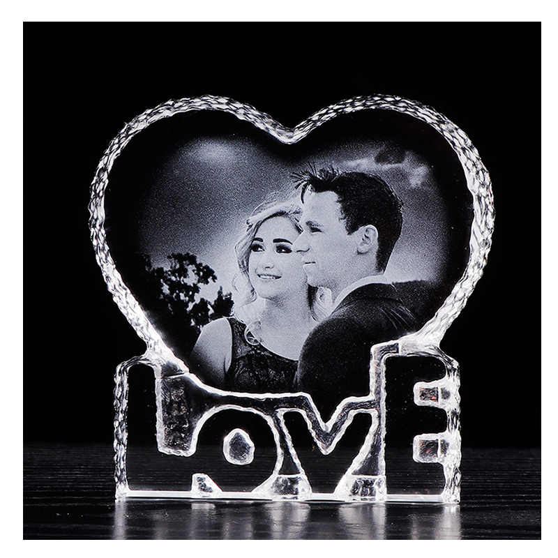 Personalized Crystal Photo Frame Romantic Love Heart Laser Engraved Picture Frame Wedding Photo Album Customized Souvenir Gift