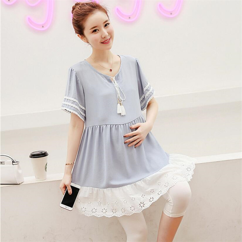 Maternity Blouse Shirt Dress Pregnancy Chiffon Lace Clothes For Pregnant Women Pregnancy Tops Tees Clothing Maternity Dresses