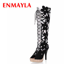 ENMAYER 2015Cut-Outs Knee High Gladiator Summer Sandals Boots Women Motorcycle Knee-High boots Shoes Woman 7color big