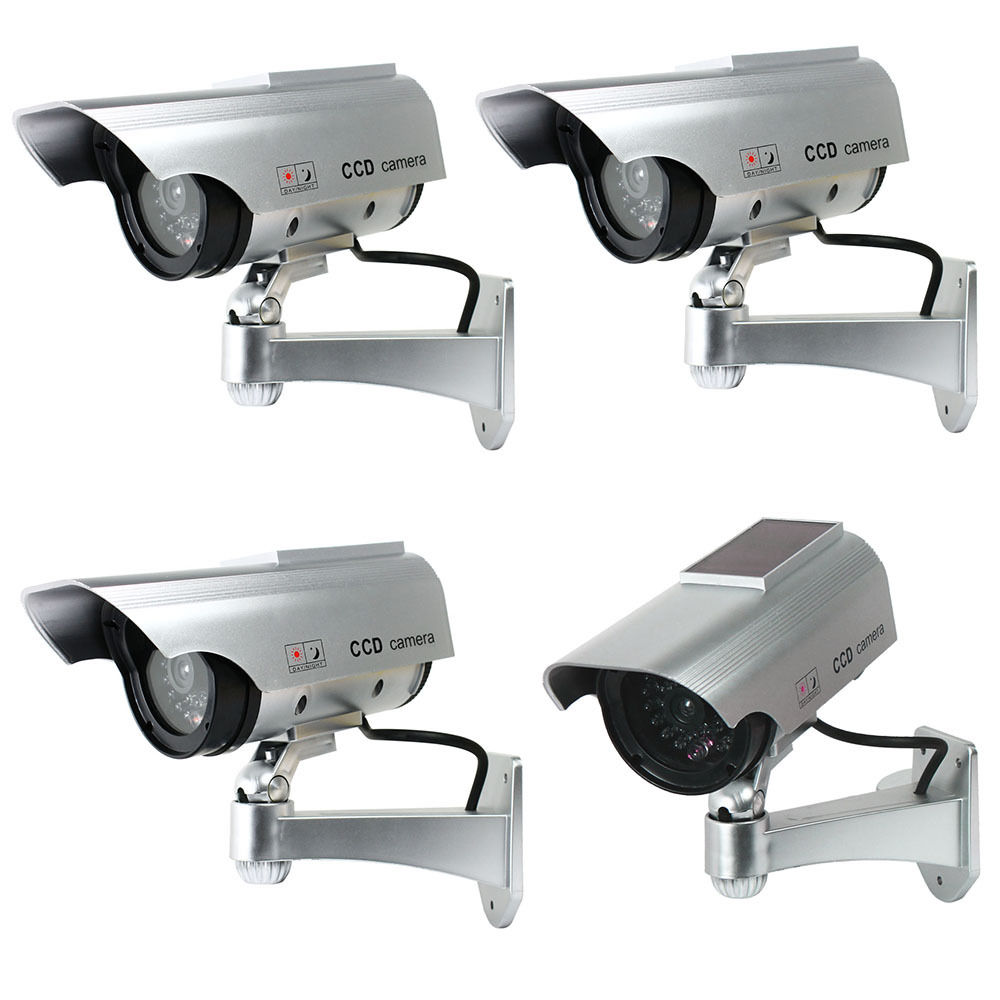 4 X Solar Powered Dummy Surveillance Security Camera CCTV w/ LED Record Light4 X Solar Powered Dummy Surveillance Security Camera CCTV w/ LED Record Light