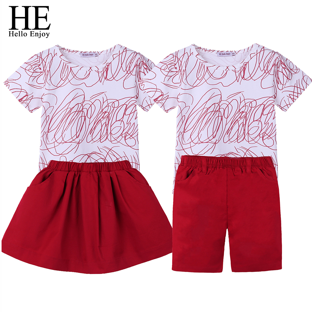HE Hello Enjoy Family Matching Clothes Big Sister Brother Sets Autumn Short Sleeves Graffiti T-shirt+Skirt/Shorts Look Outfits