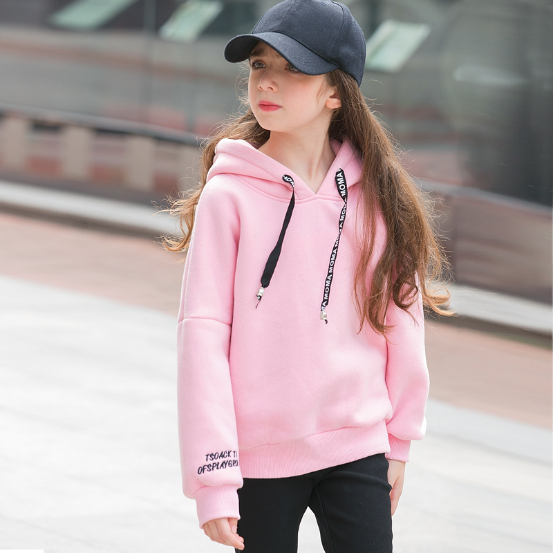 6 7 8 9 10 11 12 13 14 15 16 Years Old Teenage Girl Hoodies Winter Candy Color Sweatshirt Sweater With Fleece Hooded Kid Clothes kleider weit