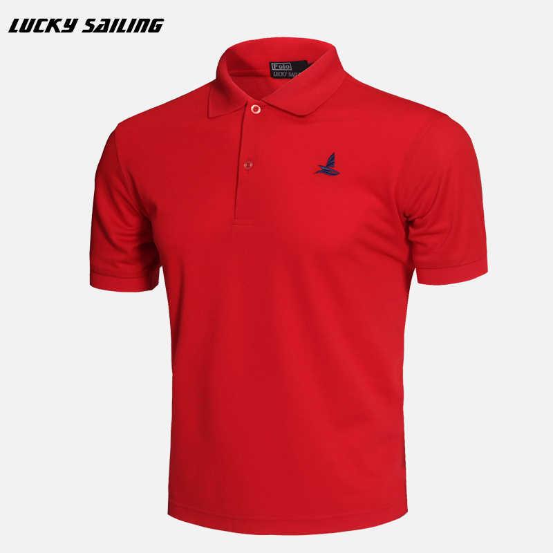 Marka 2020 nowe męskie koszulki topy i koszulki z krótkim rękawem sportowa sukienka T shirt bawełniana koszulka golfowa LUCKY SAILING Running koszulka sportowa