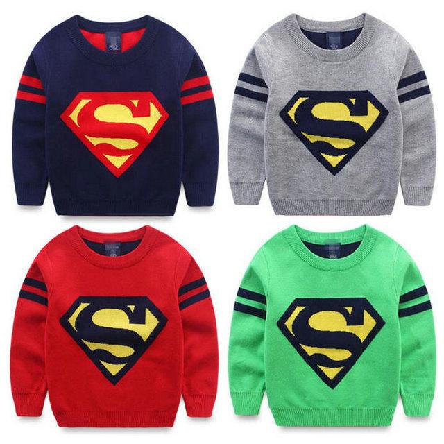 Roupas infantis kerst trui camisola menina niños prendas de punto jumper sweaters patrón para niños superman strpes manga pullover KD007