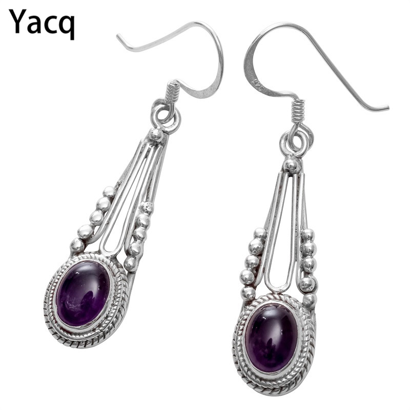 YACQ 925 Sterling Silver Amethyst Dangle Earrings Jewelry Birthday Gifts For Women Wife Her Girlfriend Mom Dropshipping BE07