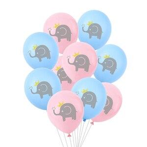 Image 1 - 10 Pcs 12 inch Cartoon Latex Ballonnen Kinderen Verjaardagsfeestje Decoratie Blauw Roze Olifant Baby Shower Ballonnen Decoraties Favor
