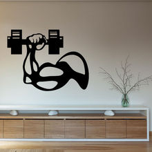 Fitness  Vinyl Wall Decal  Bodybuilder Man Hand Dumbbell Gym Interior Decor Art Mural FitnessCentre Decor Wall Sticker For Room