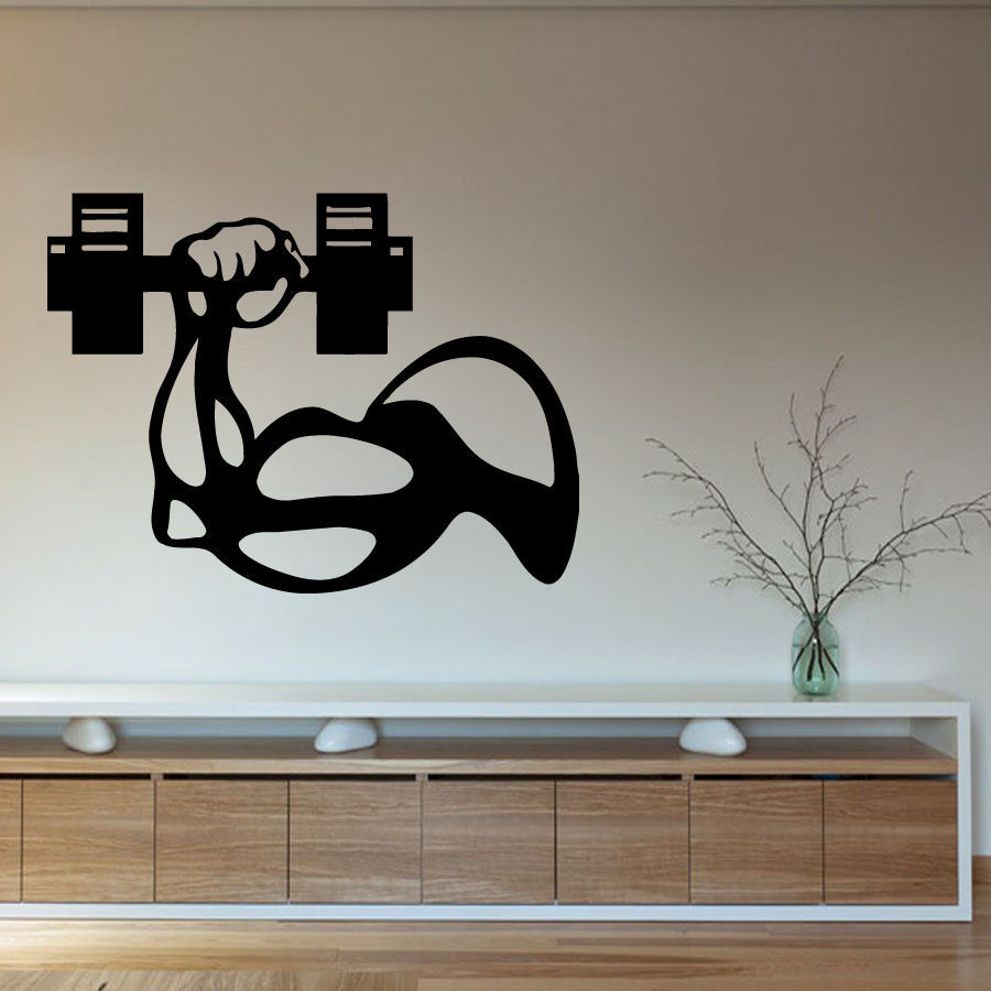 Buy fitness vinyl wall decal bodybuilder for Design wall mural