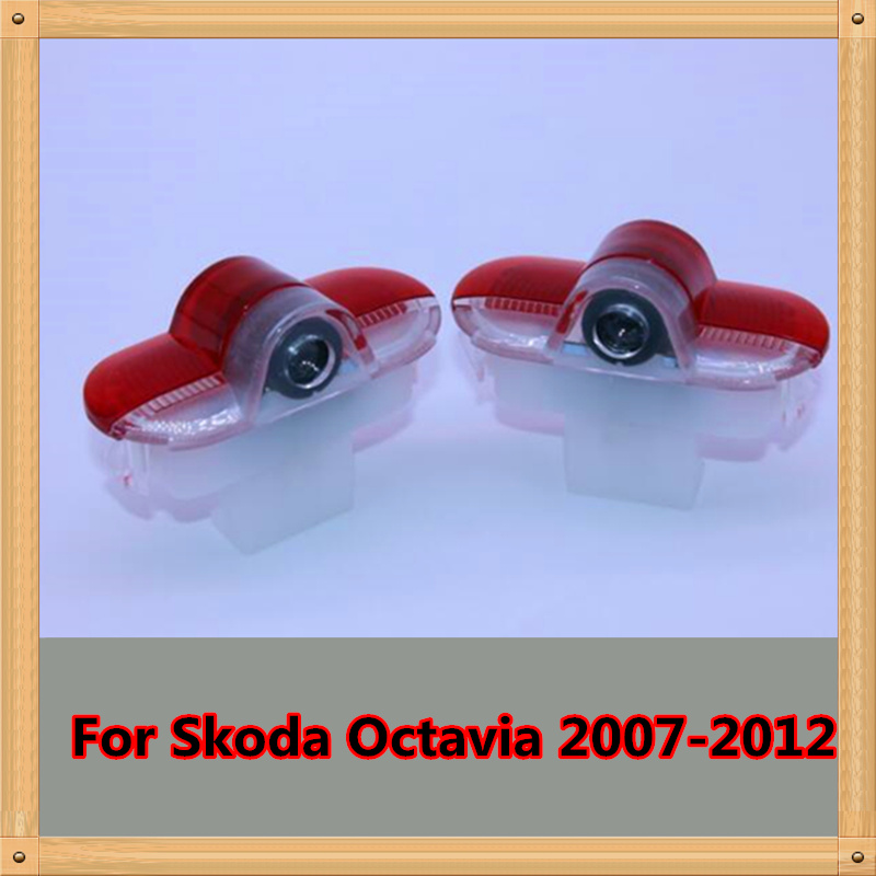 2 X Car Door Light LED Welcome Lights Laser LOGO Lamp For SKODA Octavia 2007 2008 2009 2010 2011 2012