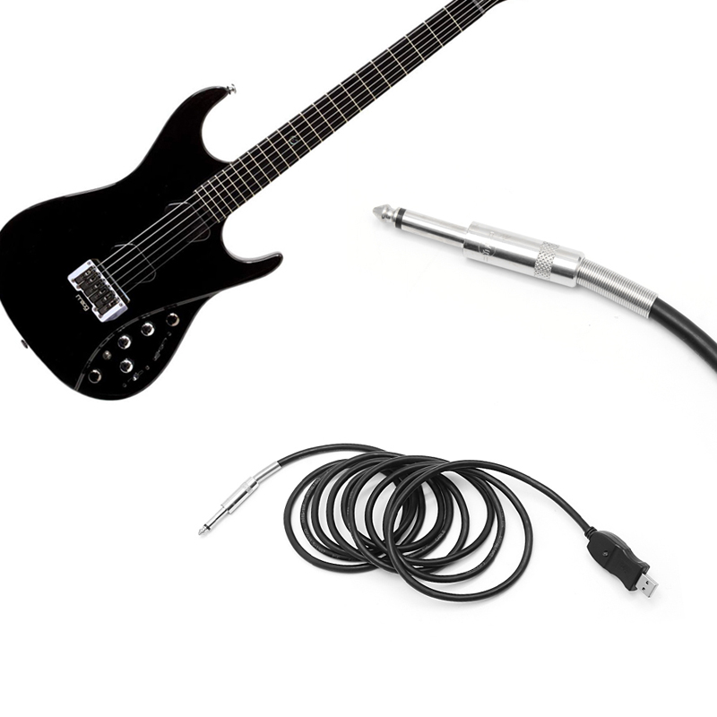 1pc 10feet guitar bass jack to usb link connection cable adapter pc recording in guitar. Black Bedroom Furniture Sets. Home Design Ideas