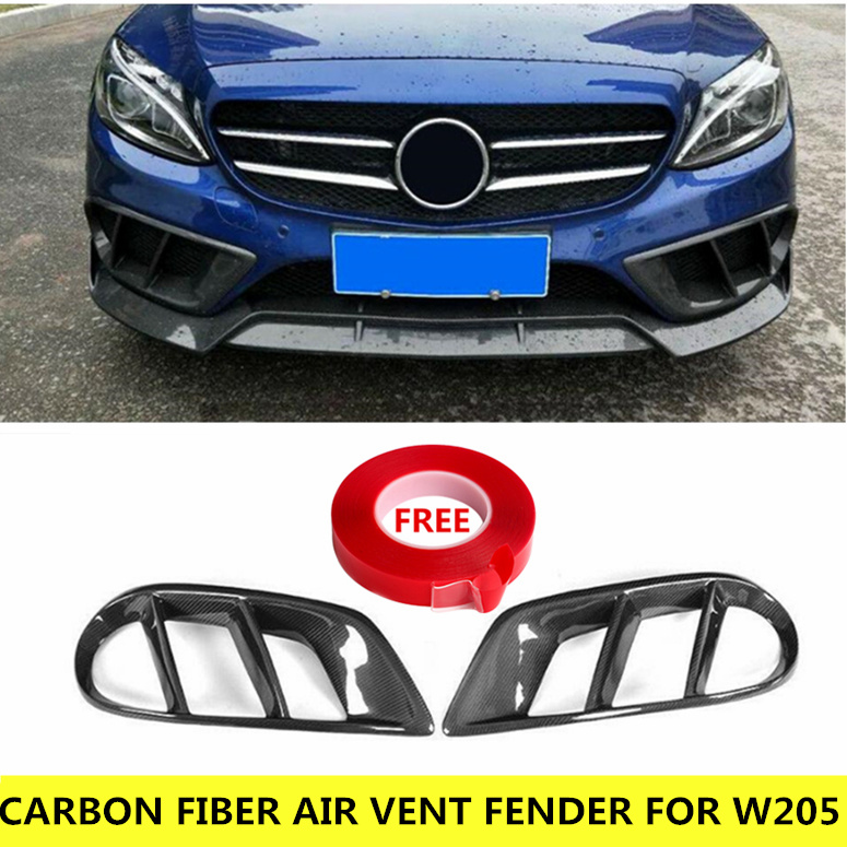 Bat-Styling Carbon Fiber Air Vent Fender For Mercedes W205 C Class C200 C250 C300 C63 AMG Front Bumper Outlet Cover Trim 2015+ image
