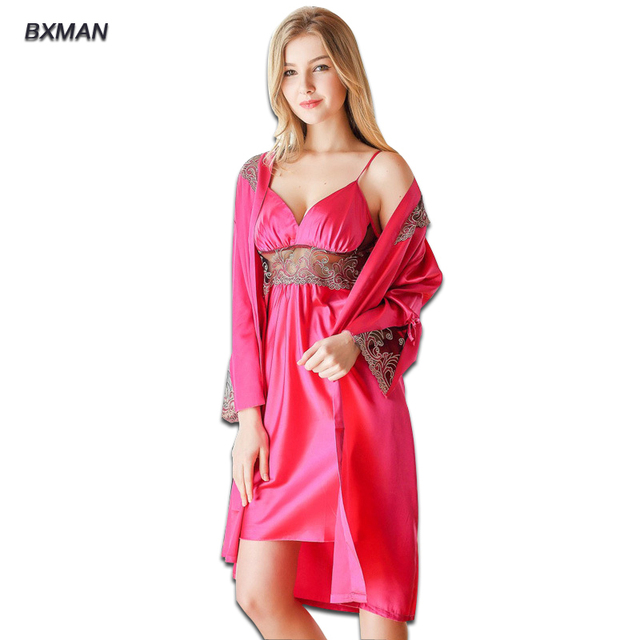 2016 Women Sleep Tops Deep V-Neck Noble Sexy Night Sleep Dress Women Pajamas Silky 2 Piece Sexy Noble Robe Set