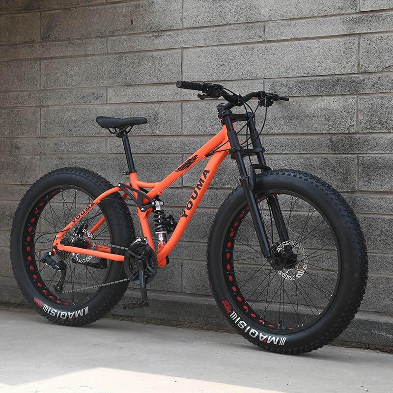 Новое поступление 7/21/24/27 скоростей горный велосипед 26 дюймов двойной дисковые тормоза жира велосипед 26x4,0 Большой шины Снег велосипедов Бес...