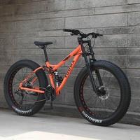 Новое поступление 7/21/24/27 скоростей горный велосипед 26 inch двойной дисковые тормоза жира велосипед 26x4,0