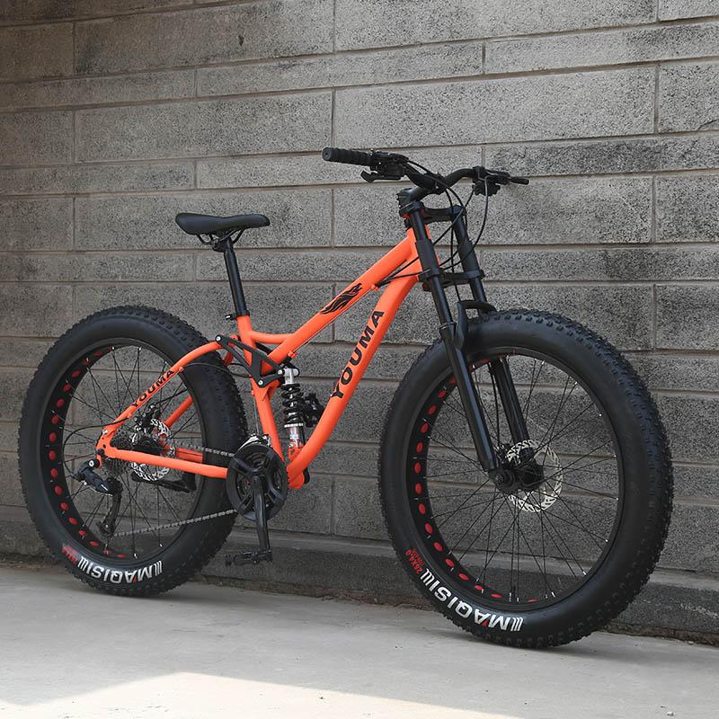 """Nuovo arrivo 7/21/24/27 velocità mountain bike 26 pollice doppio freno a disco grasso bici 26x4.0 """"big Pneumatico Da Neve Della Bicicletta di trasporto libero"""
