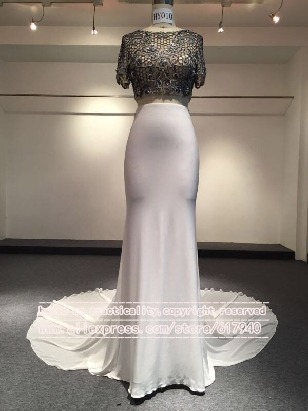 2016 Real Photos High Collar Half Sleeve Two Piece Wedding Dresses Bridal Gown Vestidos De Noiva White and Black