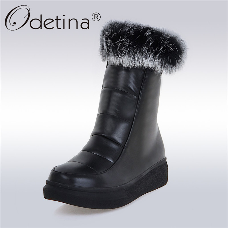 купить Odetina 2017 Fashion Women Winter Snow Boots Platform Rabbit Fur Flat Ankle Boots Thick Plush Side Zipper Warm Shoes Big Size 43 дешево