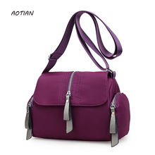 2018 New Fashion Waterproof nylon Woman Handbag Crossbody Bag Ladies shoulder messenger bags satchel black purple Bolsas