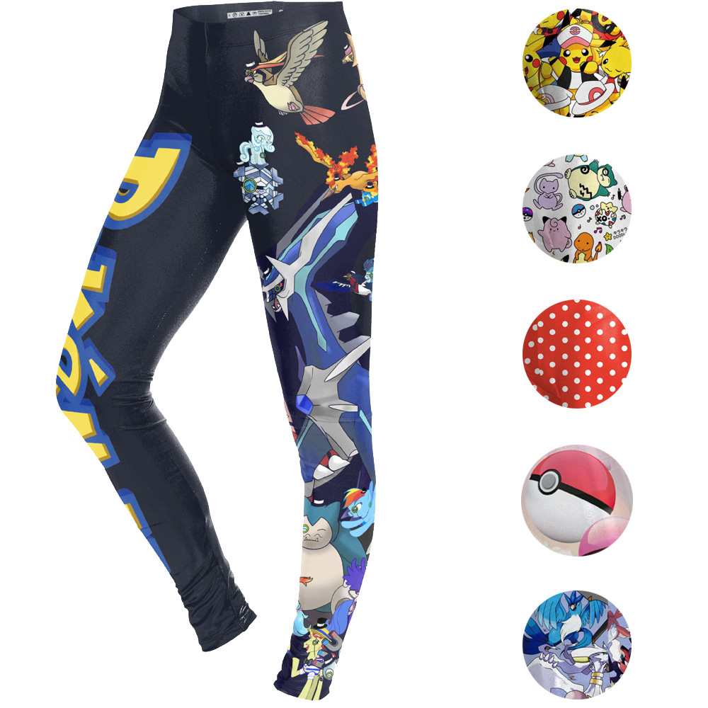cfbc0a48fd7c43 Pokemon Go Cartoon Print Women Yoga Pants High Waist Skinny Leggings  Fitness Gym Running Tights Pikachu