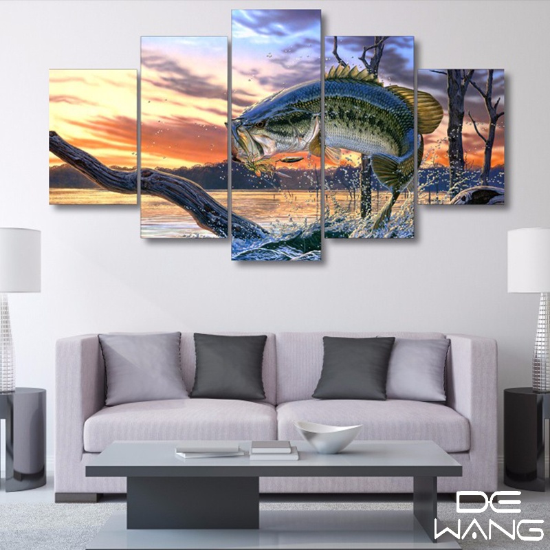 Hd Printed Jumping Fish Finder Landscape Art Oil Painting Canvas Print Room Decor Print And Poster Picture  5 Piece Canvas Art