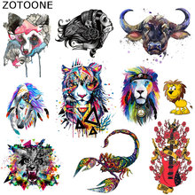 ZOTOONE Fashion Watercolor Lion Patches Iron on Transfer Patch Flower Animal Easy Print By Household Irons Parches for Clothing